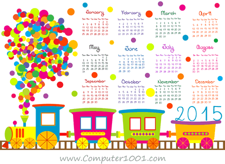 Cartoon-Train-Calendar-2015-Vector